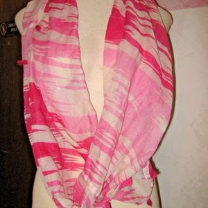 Pink Camouflage Tie Dye Tassel Infinity Scarf